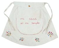 Feliciano Centurión, <em>Mi casa es mi templo</em> (My house is my temple), 1996. Embroidery on fabric, 13 x 26 inches. © Estate of the Artist, Familia Feliciano Centurión