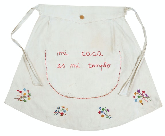 Feliciano Centurión, <em>Mi casa es mi templo</em> (My house is my temple), 1996. Embroidery on fabric, 13 x 26 inches. © Estate of the Artist, Familia Feliciano Centurión