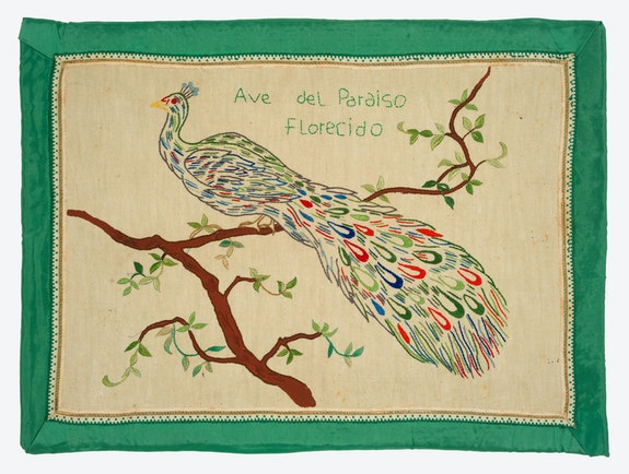 Feliciano Centurión, <em>Ave del paraiso florecido</em> (Bird of flowering paradise), c. 1995. Embroidery on fabric, 16 1/2 x 22 1/2 inches. Private collection, London. © Estate of the Artist, Familia Feliciano Centurión.