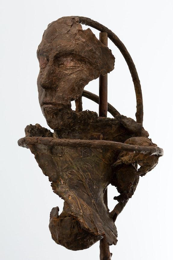 Rochelle Goldberg, <em>Gatekeeper</em>, 2020. Bronze, eyeshadow, 46 3/4 x 10 3/8 x 9 1/2 inches. Courtesy Miguel Abreu Gallery, New York.
