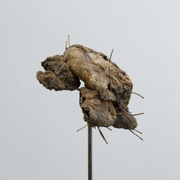 Rochelle Goldberg, <em>Bread</em>, 2020. Bronze, 42 1/2 x 6 3/4 x 11 inches. Courtesy Miguel Abreu Gallery, New York.