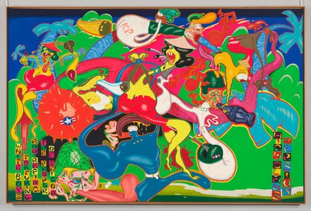 Peter Saul, <em>Saigon</em>, 1967. Acrylic, oil, enamel, and ink on canvas, 92 3/4 x 142 inches. © Whitney Museum of American Art / Licensed by Scala / Art Resource, NY.