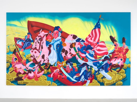 Peter Saul, <em>Washington Crossing the Delaware</em>, 1975. Oil on canvas, 89 x 150 1/2 in (226.1 x 382.3 cm). Collection KAWS. Photo: Farzad Owrang.