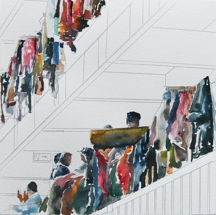 Mohammed Kazem, <em>Windows</em>, 2019-20. Graphite and watercolor on paper 9 3/4 x 9 3/4 inches. Courtesy Gallery Isabelle van den Eynde, Dubai.