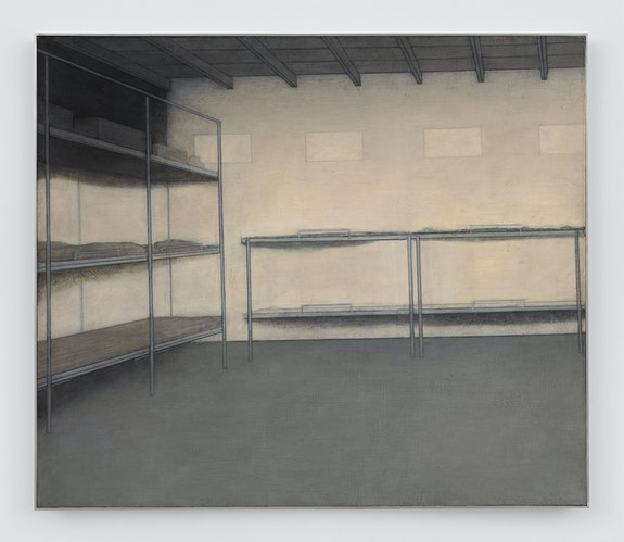 Adrian Morris, <em>Bunkhouse</em>, c. 1985. Oil on board, 35 7/8 × 42 1/8 inches. Courtesy the Estate of Adrian Morris and Essex Street / Maxwell Graham, New York, and Galerie Neu Berlin