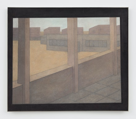 Adrian Morris, <em>Compound</em>, c. 1998. Oil on board, 35 7/8 × 41 7/8 inches. Courtesy the Estate of Adrian Morris and Essex Street / Maxwell Graham, New York, and Galerie Neu Berlin.