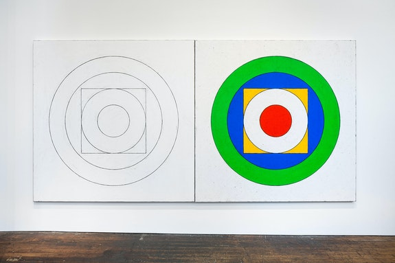 Matt Mullican, <em>Five Worlds Sign</em>, 2020. Acrylic and oil stick rubbing on canvas, in two parts, each: 78 3/4 x 78 3/4 inches. Courtesy the artist and Peter Freeman, Inc. Photo: Nicholas Knight.
