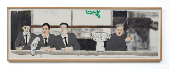 Hernan Bas, <em>Sip In (final grouping)</em>, 2019. Acrylic charcoal and graphite on paper, 26 x 80 inches. Courtesy the artist and Lehmann Maupin, New York, Hong Kong, and Seoul.