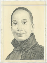 Portrait of Daisy Desrosiers, pencil on paper by Phong H. Bui.