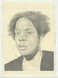 Portrait of Xaviera Simmons, pencil on paper by Phong H. Bui.