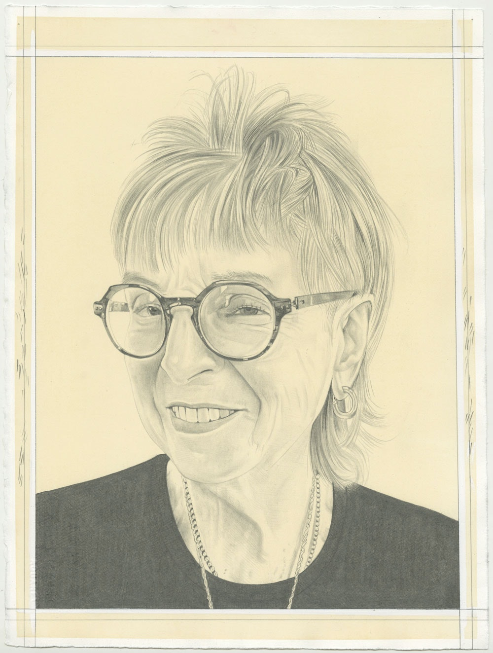 Portait of Audrey Flack, pencil on paper by Phong H. Bui.