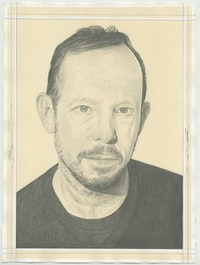 Portrait of Guillermo Kuitca, pencil on paper by Phong H. Bui.