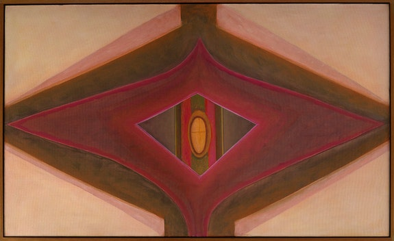 Ida Kohlmeyer, <em>Cloistered</em>, 1969. Oil on canvas, 34 1/2 x 57 inches. © Estate of Ida Kohlmeyer. Courtesy Berry Campbell, New York.