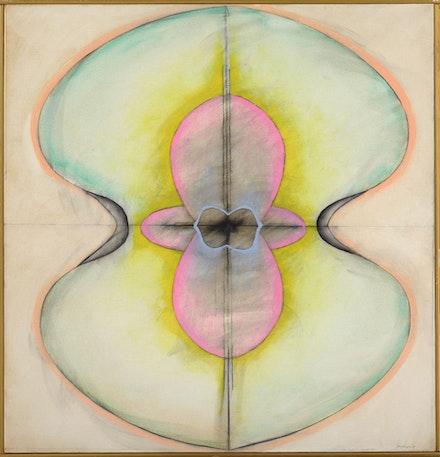 Ida Kohlmeyer, <em>Cloistered No. 12</em>, c. 1969. Oil and mixed media on canvas, 36 x 34 3/4 inches. © Estate of Ida Kohlmeyer. Courtesy Berry Campbell, New York.