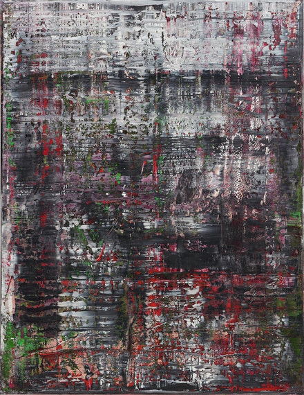 Gerhard Richter, <em>Birkenau</em>, 2014. Oil on canvas, 8 ft. 6 3/8 in. × 78 3/4 inches. Private Collection. © Gerhard Richter 2019.