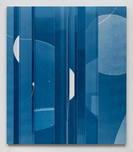 Erin Shirreff, <em>Blue tones overlay</em>, 2020. Cyanotype photogram, muslin over panel, 80 x 70 inches. Courtesy Sikkema Jenkins & Co., New York.