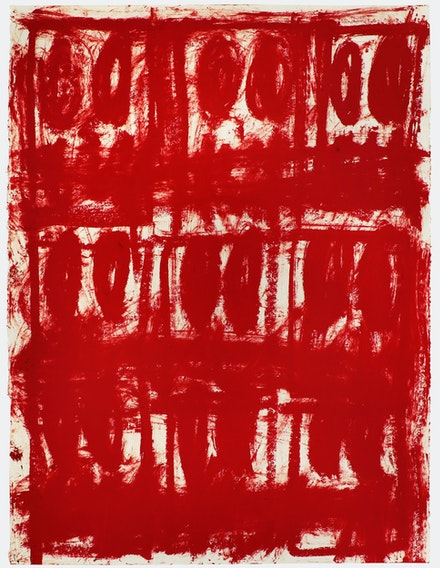 Rashid Johnson, <em>Untitled Anxious Red Drawing</em>, 2020. Oil on cotton rag, 30 x 22 inches. Courtesy Hauser & Wirth.
