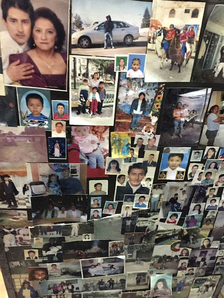 These are ex-votos and photos of thousands of Ecuadorian migrants left in the church of the