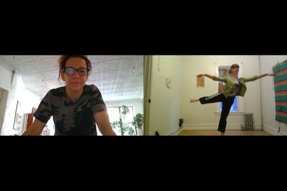 Facetime rehearsal screenshot with Pam Tanowitz (L) and Lindsey Jones (R).