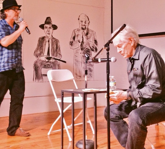 (L-R) HOLMAN, BURROUGHS, GINSBERG, MCCLURE performing the Appaloosa Deck at HOWL! Happening for the Beat & Beyond gathering, 6/16/16.  Photo: Sam O'Hana.