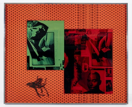 Lyle Ashton Harris, <em>Double Gasper</em>, 2019, Ghanaian cloth, dye sublimation prints, and ephemera 40 5/8 x 49 3/4 inches. Courtesy of the Artist and David Castillo Gallery, Miami. © Lyle Ashton Harris