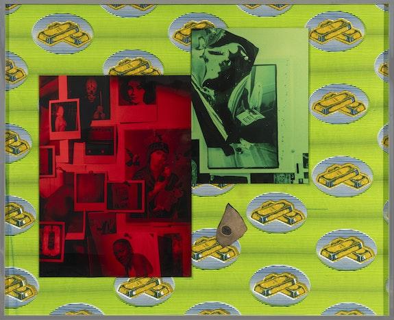 Lyle Ashton Harris, <em>The Gold Standard II</em>, 2019. Ghanaian cloth, dye sublimation prints, and ephemera 40 5/8 x 49 3/4 inches. Courtesy of the Artist and David Castillo Gallery, Miami. © Lyle Ashton Harris