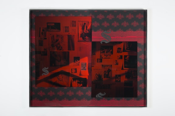 Lyle Ashton Harris, <em>Untitled (Red Shadow)</em>, 2017. Ghanaian funerary cloth, dye sublimation prints, and ephemera 62 1/2 x 75 1/2 inches. Courtesy of the Artist and David Castillo Gallery, Miami. © Lyle Ashton Harris