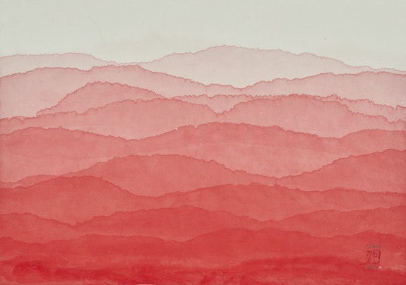 Minjung Kim,<em> Red Mountain</em>, 2019. Ink and watercolor on mulberry Hanji paper, 12 1/2 x 17 3/4 inches. Courtesy the artist.