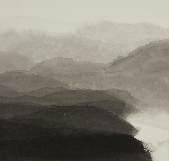 Minjung Kim, <em>Mountain</em>, 2018. Ink on mulberry Hanji paper, 28 3/4 x 30 1/4 inches. Courtesy the artist.