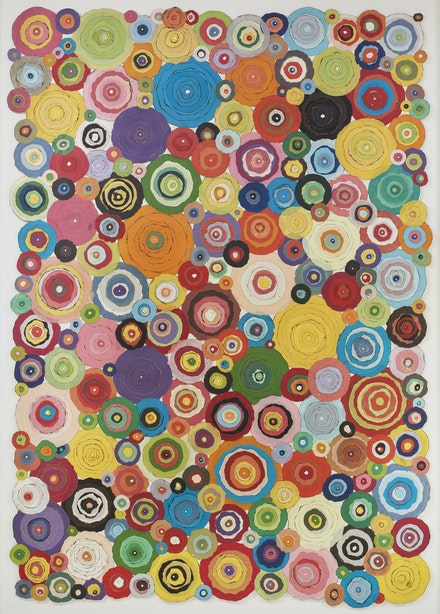 Minjung Kim, <em>Pieno di Vuoto</em>, 2008. Mixed media on mulberry Hanji paper, 82 3/4 x 59 inches. Courtesy the artist.