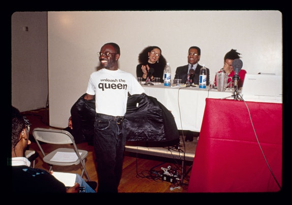 Lyle Ashton Harris, <em>Marlon Riggs, Black Popular Culture conference, Dia Center for the Arts, New York, December 8-10, 1991,</em> 2018. Chromogenic print. 15 x 20 1/2 inches. Edition of 3, 2 APs. Courtesy of the artist and Salon 94, New York. © Lyle Ashton Harris
