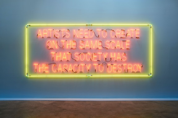 Lauren Bon and the Metabolic Studio,<em> Artists Need to Create on the Same Scale that Society Has the Capacity to Destroy</em>, 2017. Neon, edition of 2 of 12; glass neon, metal brackets; 72 x 174 inches. Courtesy the artist and the Metabolic Studio, Los Angeles. Photo by Zack Garlitos.
