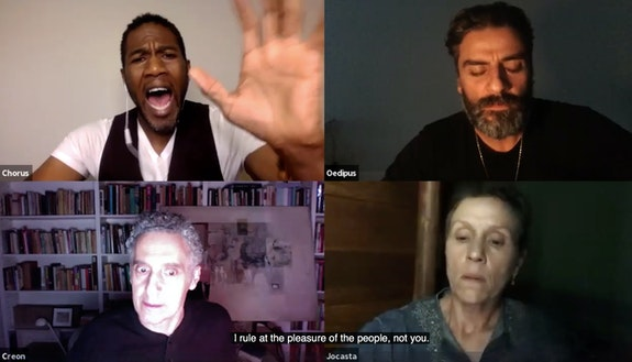 Public Advocate Jumaane Williams as the chorus alongside Oscar Isaac as Oedipus, John Turturro as Creon and Frances McDormand as Jocasta. Courtesy of Theater of War Productions.