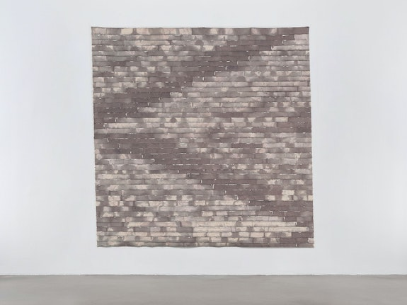 Allan McCollum, <em>Susan Holtz</em>, 1971. Canvas, dye, boat caulking, 90 x 90 inches. Courtesy Petzel Gallery, New York.