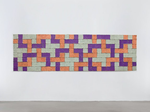 Allan McCollum, <em>Object Lesson</em>, 1973. Canvas, silicone adhesive, glitter, acrylic paint, 39 x 133 inches. Courtesy Petzel Gallery, New York.