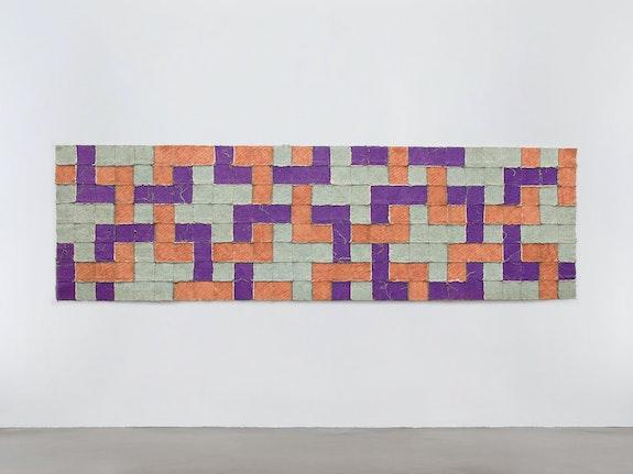 Allan McCollum, <em>Object Lesson</em>, 1973. Canvas, silicone adhesive, glitter, acrylic paint, 39 x 133 inches. Courtesy Petzel Gallery, New York.