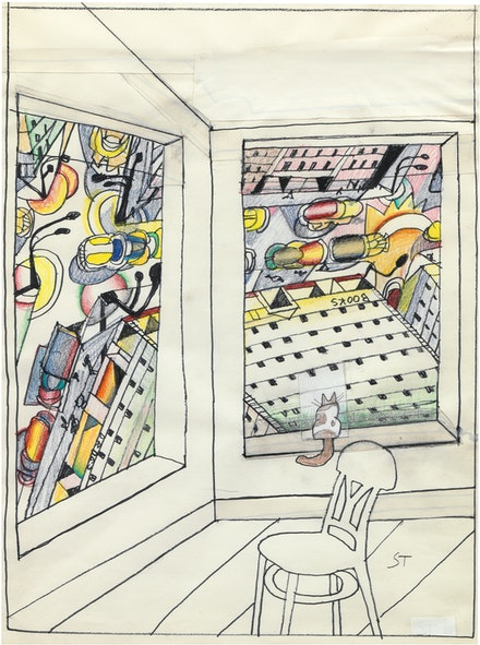 Saul Steinberg, <em>Looking Down</em>, 1988. Marker, crayon, colored pencil and conté crayon with collage on paper, 20 x 14 inches. © The Saul Steinberg Foundation / Artists Rights Society (ARS), New York.