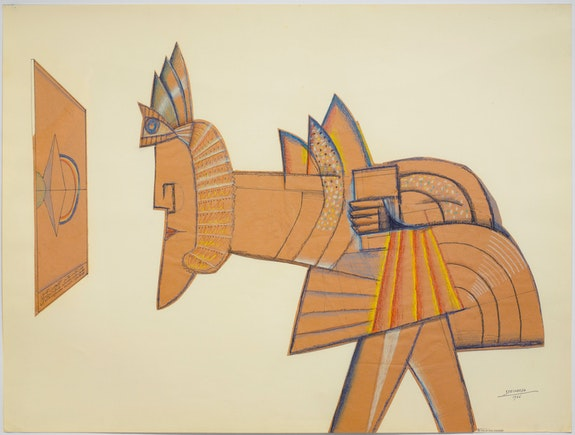 Saul Steinberg, <em>Sphinx II</em>, 1966. Crayon, graphite, colored pencil, and pen and ink on cut brown kraft paper mounted to Strathmore, 30 x 40 inches. © The Saul Steinberg Foundation / Artists Rights Society (ARS), New York.