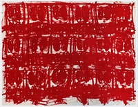 Rashid Johnson, <em>Untitled Anxious Red Drawing</em>, 2020. Oil on cotton rag, 38 1/4 x 50 inches. Courtesy Hauser & Wirth.
