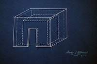 Stephen Kaltenbach, <em>Room Cube</em>, 1967. Blueprint, 18 x 24 inches. Courtesy the artist.