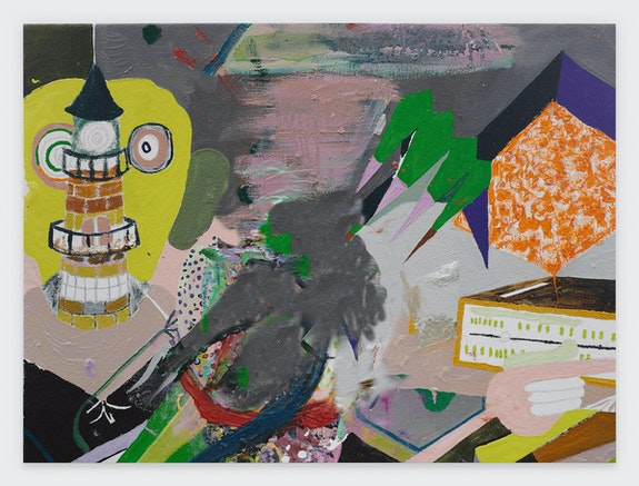 Michael Williams, <em>Scooched Painting</em>, 2020. Inkjet on canvas, 106 x 143 7/8 inches. © Michael Williams. Courtesy the artist and Gladstone Gallery, New York and Brussels.