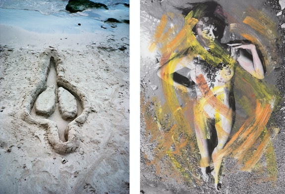 Left: Ana Mendieta, <em>Untitled</em>, 1981 / 2019. Color photograph, 29 1/8 x 21 7/8 x 1 1/4 inches. © The Estate of Ana Mendieta Collection, LLC. Courtesy Galerie Lelong & Co., New York. Licensed by Artists Rights Society (ARS), New York. Right: Carolee Schneemann, <em>Evaporation - Noon</em>, 1974/2017. Hand-colored inkjet print, 38 x 28 inches. © The Estate of Carolee Schneemann. Courtesy Galerie Lelong & Co., New York and P·P·O·W, New York.