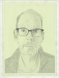 Portrait of Tom McGlynn, pencil on paper by Phong H. Bui. Based on a photo by  Maya McGlynn.