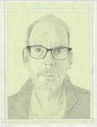 Portrait of Tom McGlynn, pencil on paper by Phong H. Bui. Based on a photo by  Maya McGlynn.