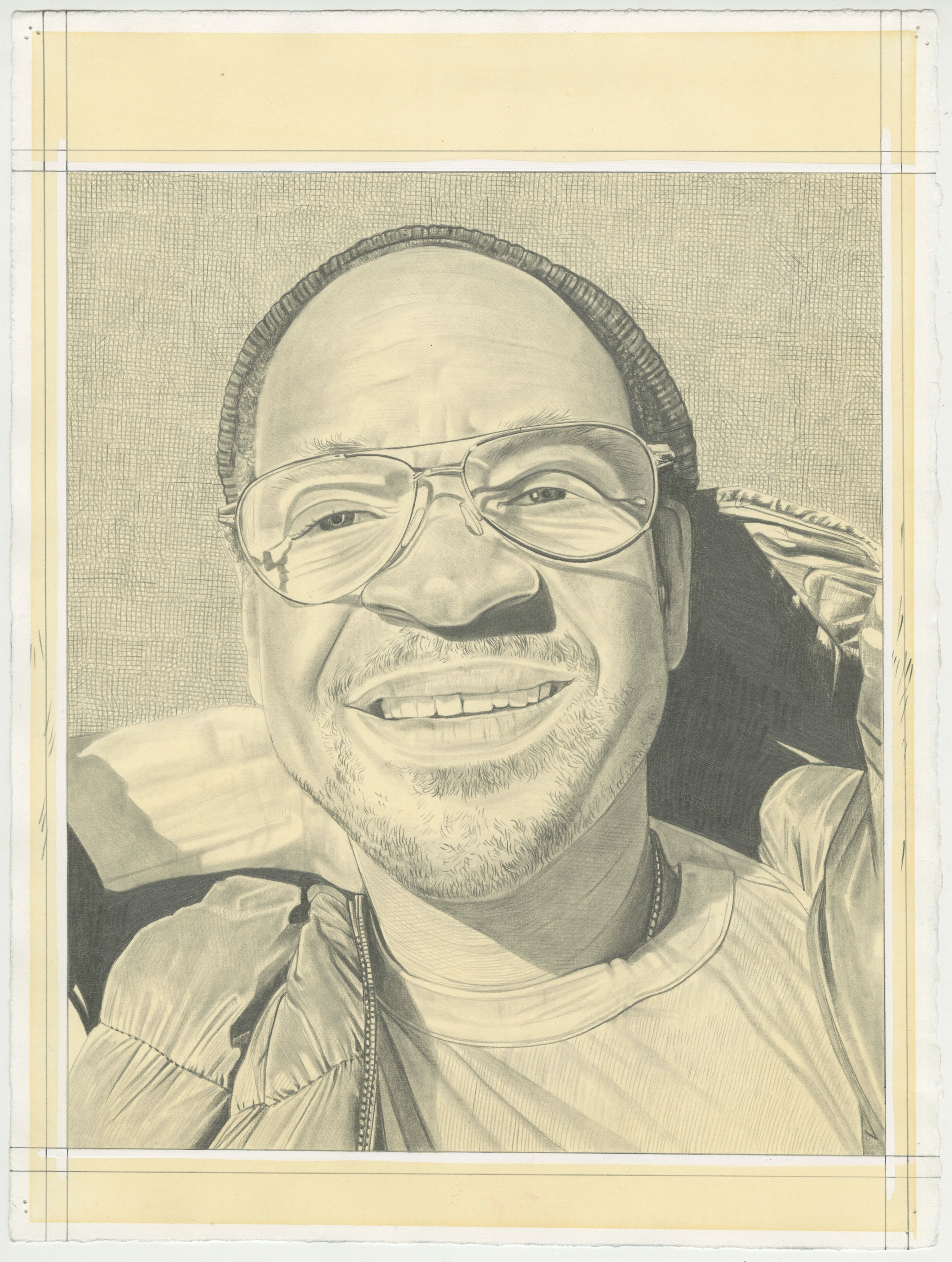 Portrait of Lyle Ashton Harris, pencil on paper by Phong H. Bui.