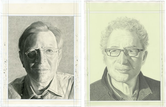 Portraits of John Elderfield (left) and Terry Winters (right), pencil on paper by Phong H. Bui.