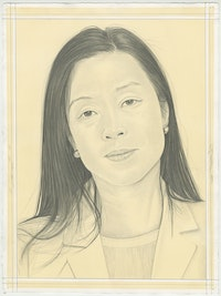 Portrait of Minjung Kim, pencil on paper by Phong H. Bui.