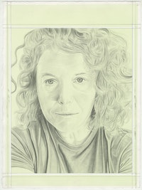 Portrait of Lauren Bon, pencil on paper by Phong H. Bui.