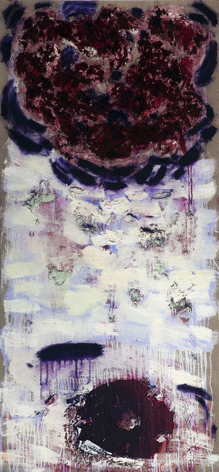 Joan Synder, <em>Winter Rose</em>, 2014. Oil, acrylic, paper mache, pastel, and glitter on linen, 64 x 30 inches. Courtesy the artist.