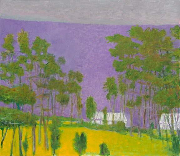 Wolf Kahn, <em>Greenhouses in a Green Landscape</em>, 2011, oil on canvas, 52 x 60 inches, © 2020 Wolf Kahn / Licensed by VAGA at Artists Rights Society (ARS), NY